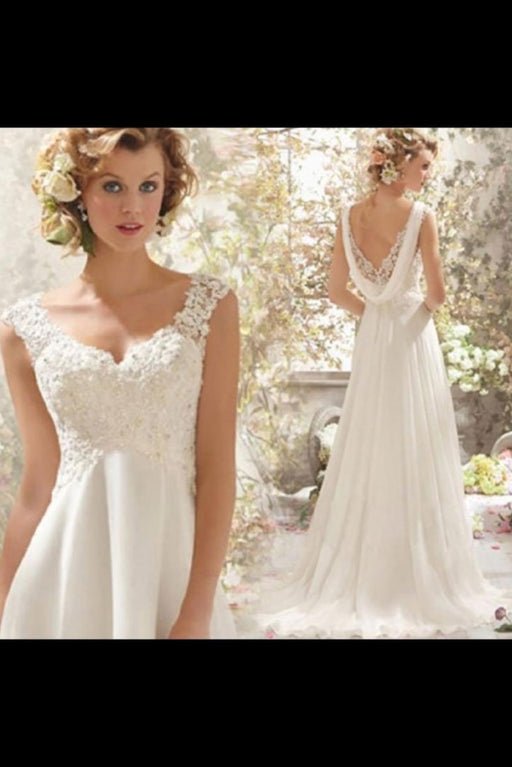 Stunning Empire Waist V-neck Backless A-line Wedding Dress - Wedding Dresses