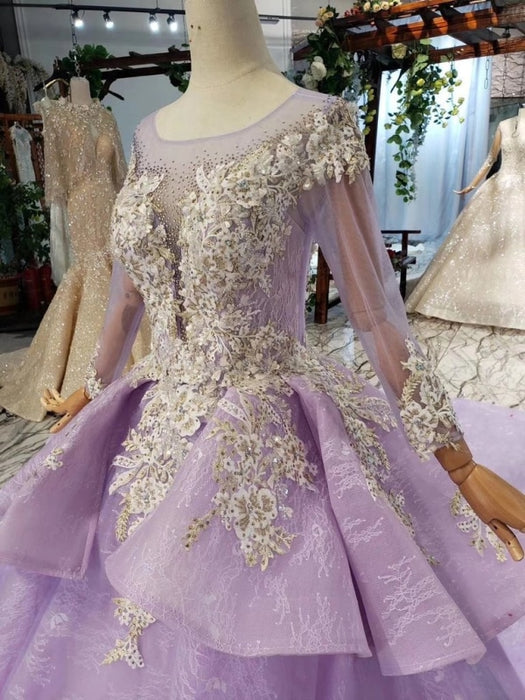 Stunning Long Sleeve Ball Gown Appliques Beading Lilac Quinceanera Dress - Prom Dresses