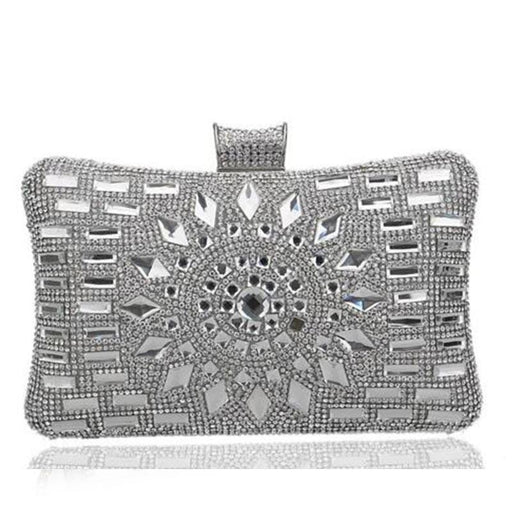 Sun Beaded Diamonds Shoulder Wedding Handbags | Bridelily - YM1006Silver - wedding handbags