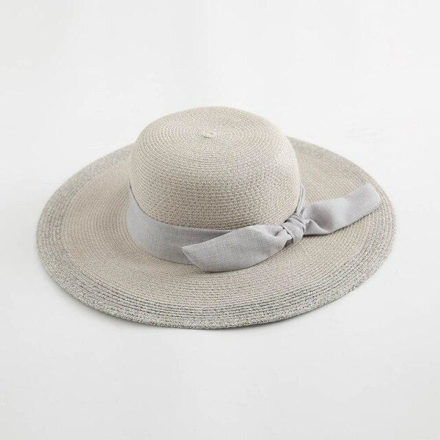 Sun Elegant Casual Wide Brim Bowknot Straw Hats | Bridelily - Gray Straw Hat / One Size - straw hats