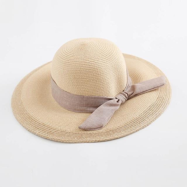 Sun Elegant Casual Wide Brim Bowknot Straw Hats | Bridelily - Yellow Straw Hat / One Size - straw hats