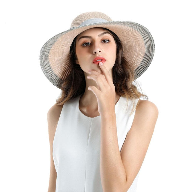 Sun Elegant Casual Wide Brim Bowknot Straw Hats | Bridelily - Pink Straw Hat / One Size - straw hats