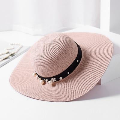 Sun Solid Large Brimmed With Pearls Floppy Hats | Bridelily - pink red - floppy hats