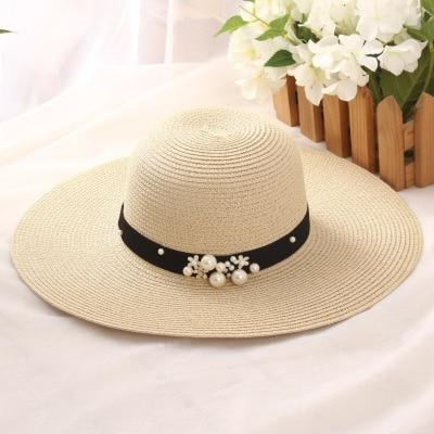 Sun Solid Large Brimmed With Pearls Floppy Hats | Bridelily - beige - floppy hats