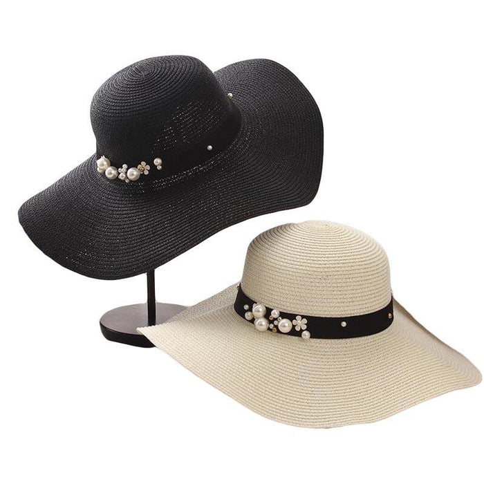 Sun Solid Large Brimmed With Pearls Floppy Hats | Bridelily - black - floppy hats