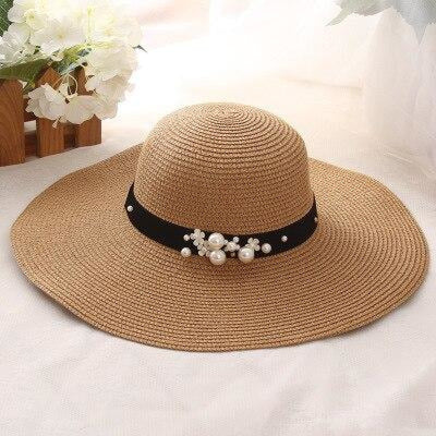 Sun Solid Large Brimmed With Pearls Floppy Hats | Bridelily - Khaki - floppy hats