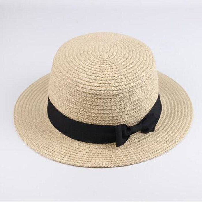 Sun Straw Boater Flat With Bow Beach/Sun Hats | Bridelily - Light coffee / Children size - beach/sun hats