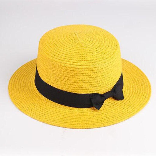 Sun Straw Boater Flat With Bow Beach/Sun Hats | Bridelily - beach/sun hats