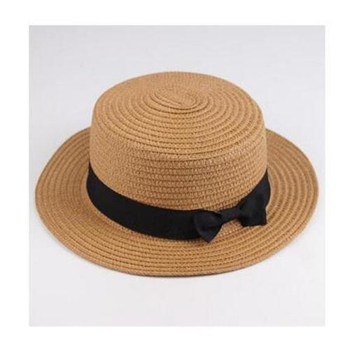 Sun Straw Boater Flat With Bow Beach/Sun Hats | Bridelily - coffee / Children size - beach/sun hats