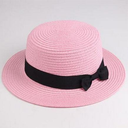 Sun Straw Boater Flat With Bow Beach/Sun Hats | Bridelily - pink red / Children size - beach/sun hats