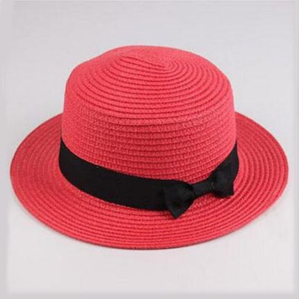 Sun Straw Boater Flat With Bow Beach/Sun Hats | Bridelily - watermelon red / Children size - beach/sun hats