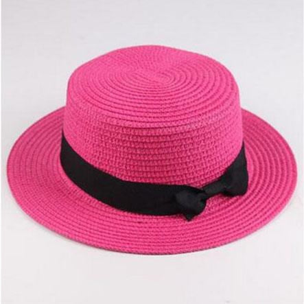 Sun Straw Boater Flat With Bow Beach/Sun Hats | Bridelily - rose Red / Children size - beach/sun hats
