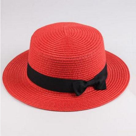 Sun Straw Boater Flat With Bow Beach/Sun Hats | Bridelily - red / Children size - beach/sun hats