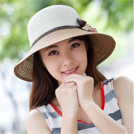 Sun Wide Brim Straw With Flowers Beach/Sun Hats | Bridelily - Khaki - beach/sun hats