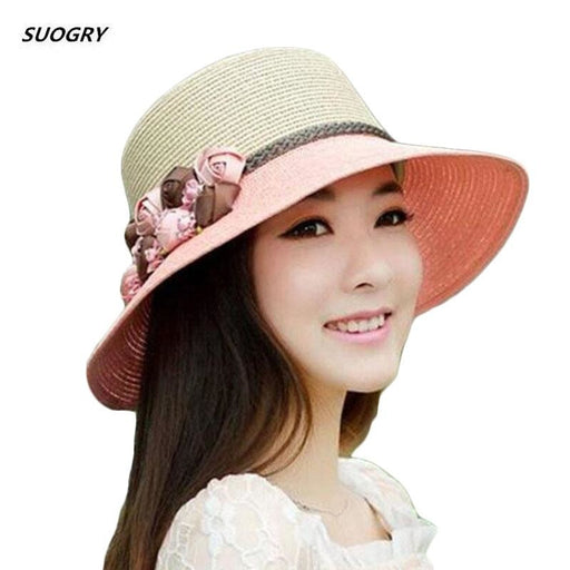 Sun Wide Brim Straw With Flowers Beach/Sun Hats | Bridelily - Pink - beach/sun hats