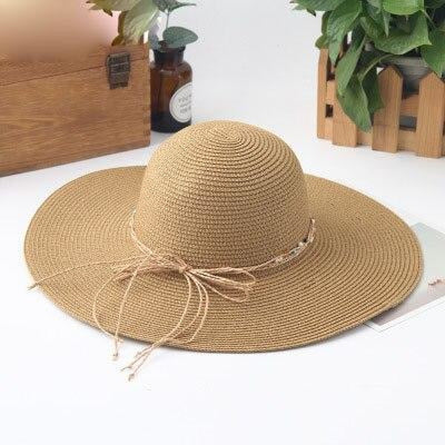 Sunhat Large Brimmed Sun Wide Packable Straw Hats | Bridelily - Khaki - straw hats