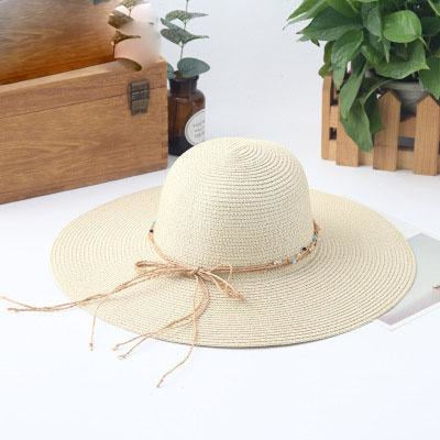 Sunhat Large Brimmed Sun Wide Packable Straw Hats | Bridelily - Milk white - straw hats