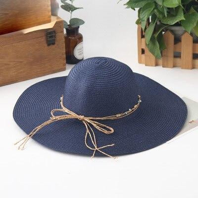 Sunhat Large Brimmed Sun Wide Packable Straw Hats | Bridelily - navy - straw hats