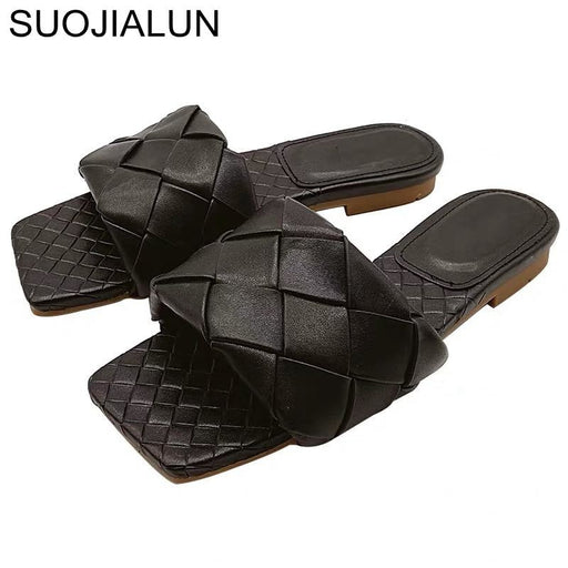 SUOJIALUN 2020 New Brand Slippers Weave Leather Women Sandal Open Toe Flat Casual Slides Summer Outdoor Beach Female Flip Flops - house