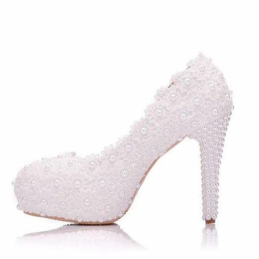 Sweet Flower High Heels Lace Wedding Pumps | Bridelily - wedding pumps