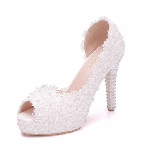 Sweet Flower Lace Pearls Wedding Sandals | Bridelily - white / 36 - wedding sandals
