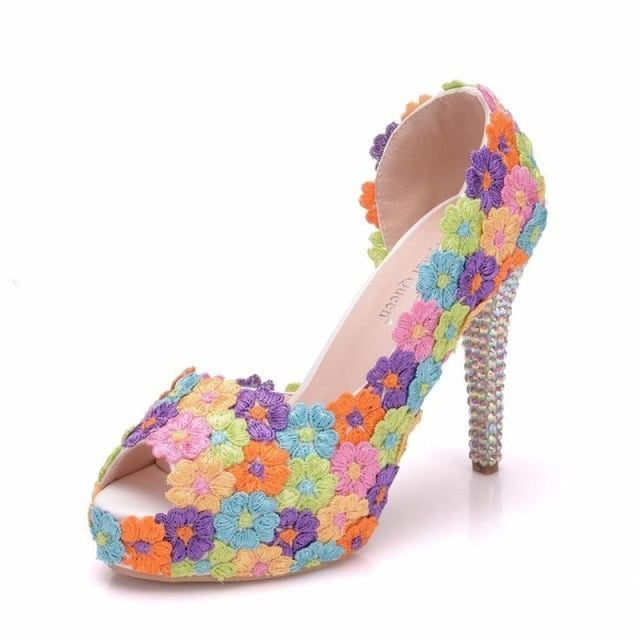 Sweet Flower Lace Pearls Wedding Sandals | Bridelily - multicolor / 36 - wedding sandals