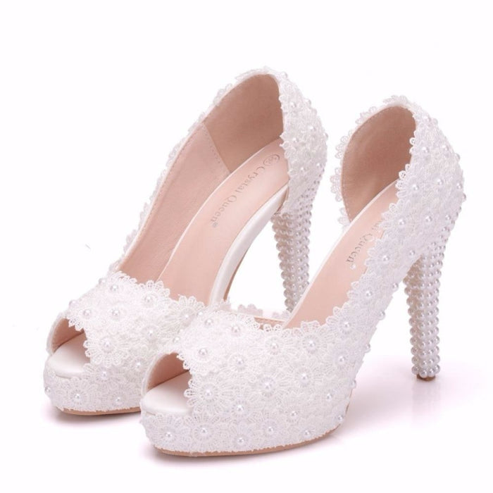 Sweet Flower Lace Pearls Wedding Sandals | Bridelily - wedding sandals