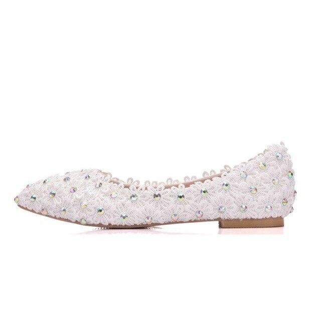 Sweet Flower Princess Lace Wedding Flats | Bridelily - white / 34 - wedding flats