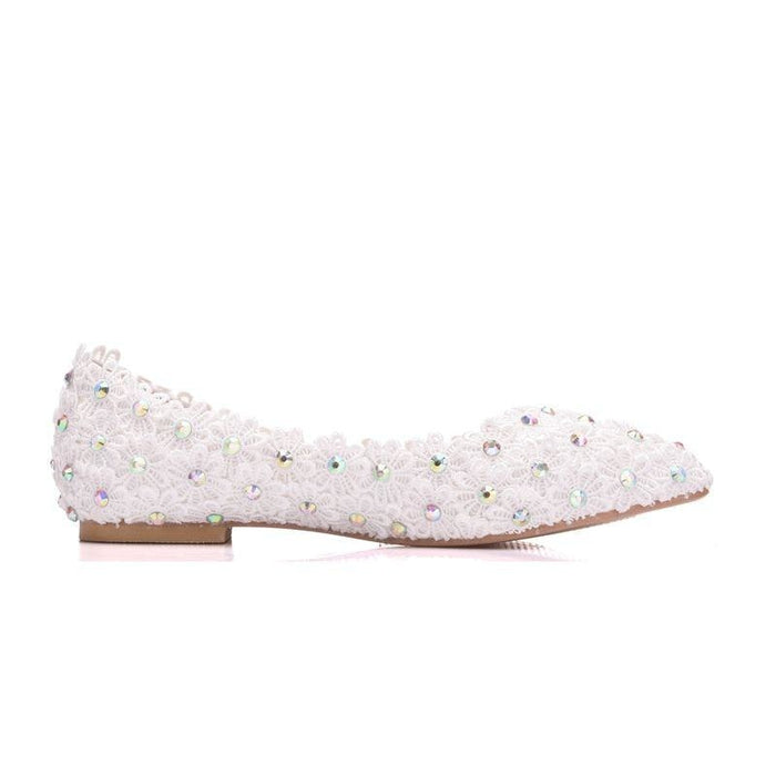 Sweet Flower Princess Lace Wedding Flats | Bridelily - wedding flats