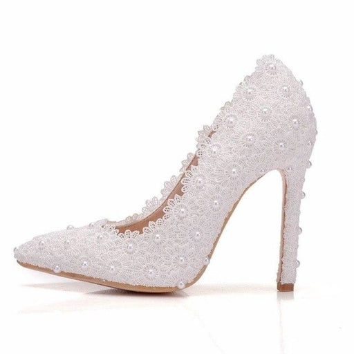 Sweet High Heels Lace Pearls Wedding Pumps | Bridelily - white / 36 - wedding pumps