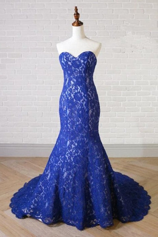 Sweetheart Neck Royal Blue Lace Long Mermaid Prom Dress - Prom Dresses