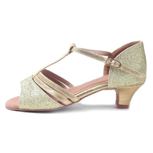 Tango Latin Low Heels Ballroom Dance Shoes | Bridelily - Gold / 12.5 - ballroom dance shoes