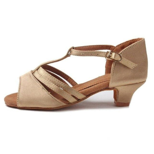 Tango Latin Low Heels Ballroom Dance Shoes | Bridelily - Beige / 12.5 - ballroom dance shoes