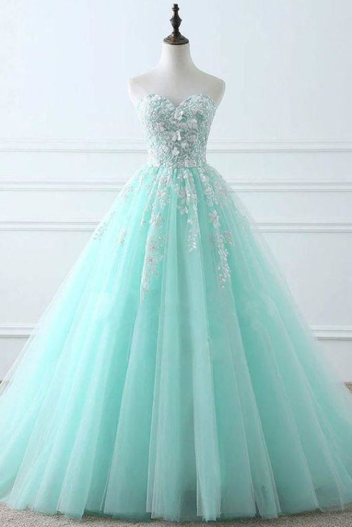 Tiffany Blue Sweetheart Puffy Tulle Prom with Lace Appliques Long Graduation Dress - Prom Dresses