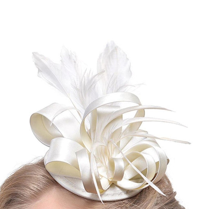 Top Cap Fabric Feather Floral Clips Fascinators | Bridelily - fascinators