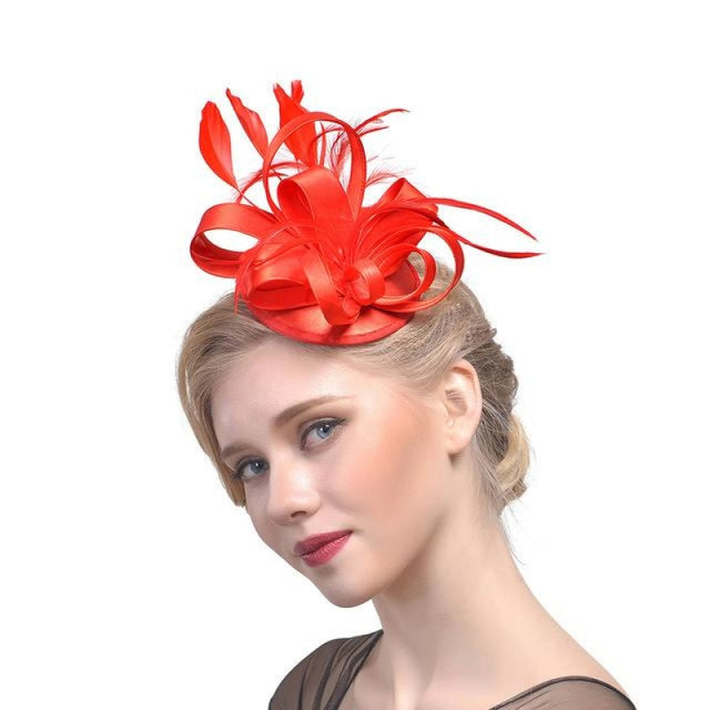 Top Cap Fabric Feather Floral Clips Fascinators | Bridelily - 2 - fascinators