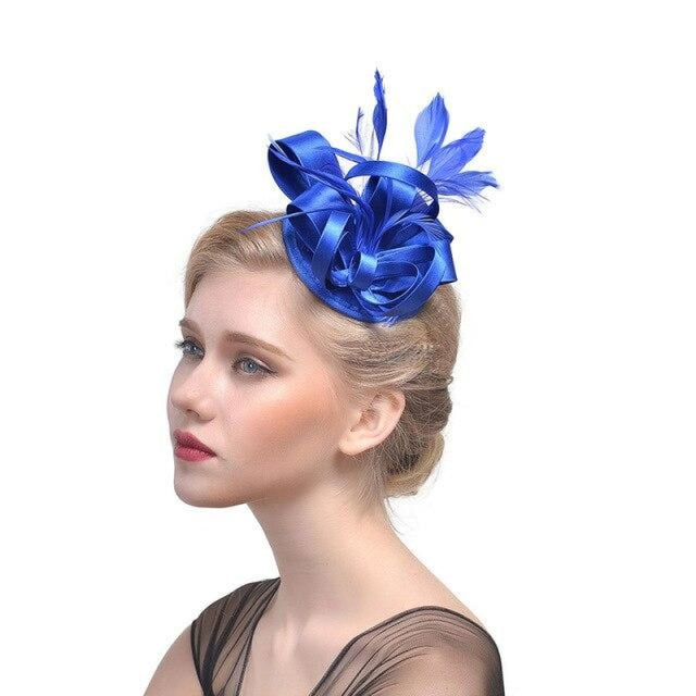 Top Cap Fabric Feather Floral Clips Fascinators | Bridelily - 1 - fascinators