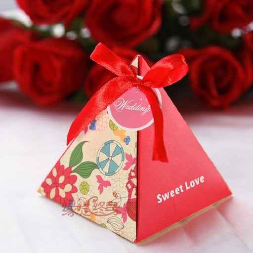 Triangle Flower Ribbon(100Pcs) Favor Holders | Bridelily - Red - favor holders