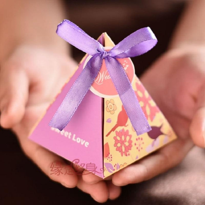 Triangle Flower Ribbon(100Pcs) Favor Holders | Bridelily - Purple - favor holders