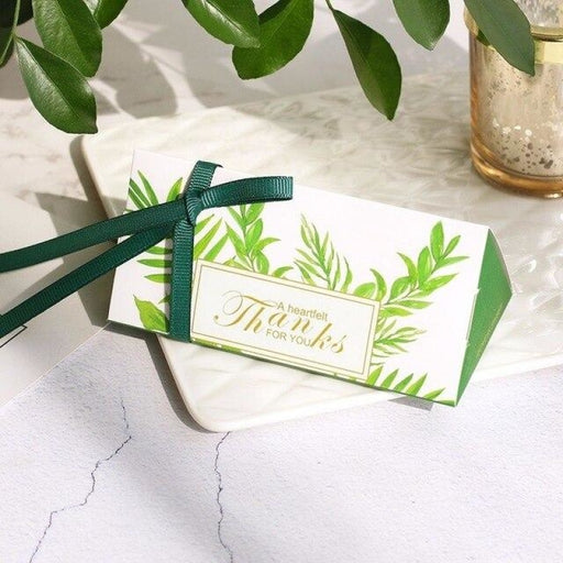 Triangle Paper Thanks With Ribbin Favor Holders | Bridelily - Green / 100 PCS - favor holders