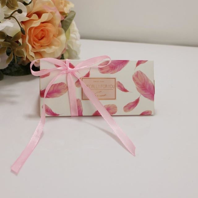 Triangular Brick With Ribbon Bowknot Favor Holders | Bridelily - Pink / 50PCS - favor holders