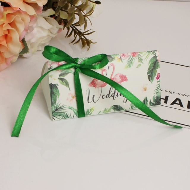 Triangular Brick With Ribbon Bowknot Favor Holders | Bridelily - Green / 50PCS - favor holders