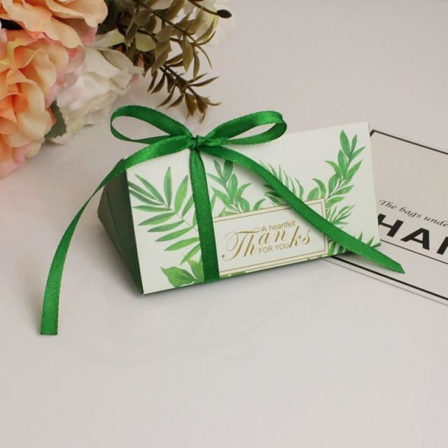 Triangular Brick With Ribbon Bowknot Favor Holders | Bridelily - Army green / 50PCS - favor holders