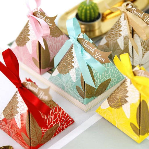 Triangular Brown Leaves Ribbon Favor Holders | Bridelily - favor holders