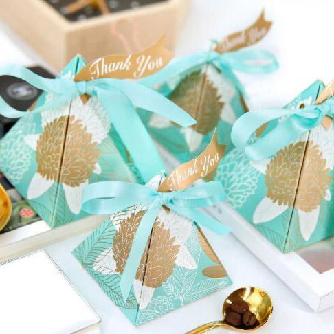 Triangular Brown Leaves Ribbon Favor Holders | Bridelily - Blue / 72x72x80mm / 50Pcs - favor holders