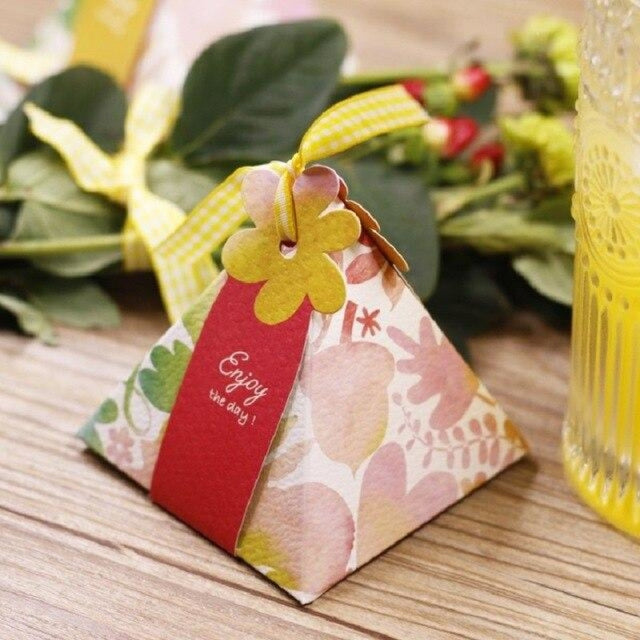 Triangular Candy Box With Ribbon Favor Holders | Bridelily - Deep Sapphire / 72x72x80mm / 50Pcs - favor holders