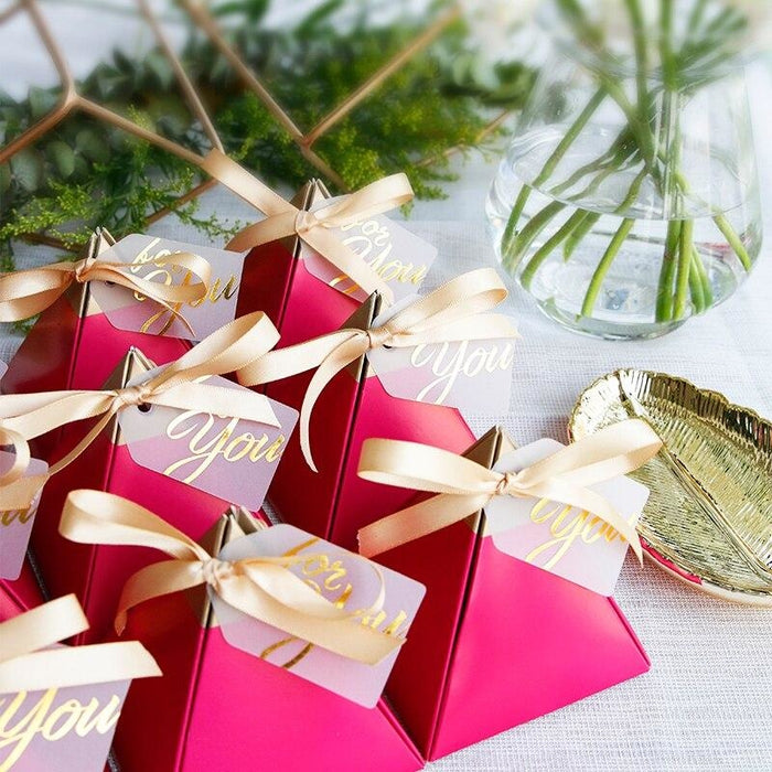 Triangular Candy Boxes With Bowknot Favor Holders | Bridelily - favor holders
