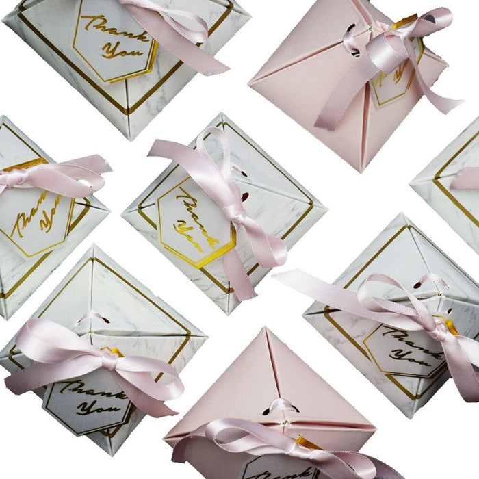 Triangular Marble With Thank Card Favor Holders | Bridelily - favor holders