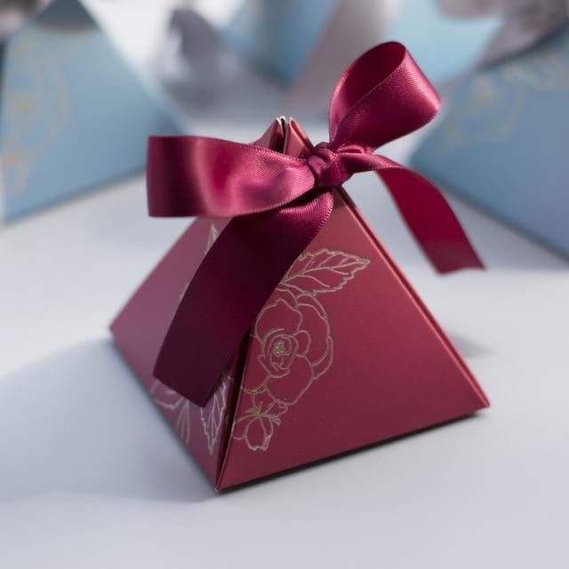 Triangular Pyramid Ribbon Bowknot Favor Holders | Bridelily - MAROON / 20 PCS - favor holders