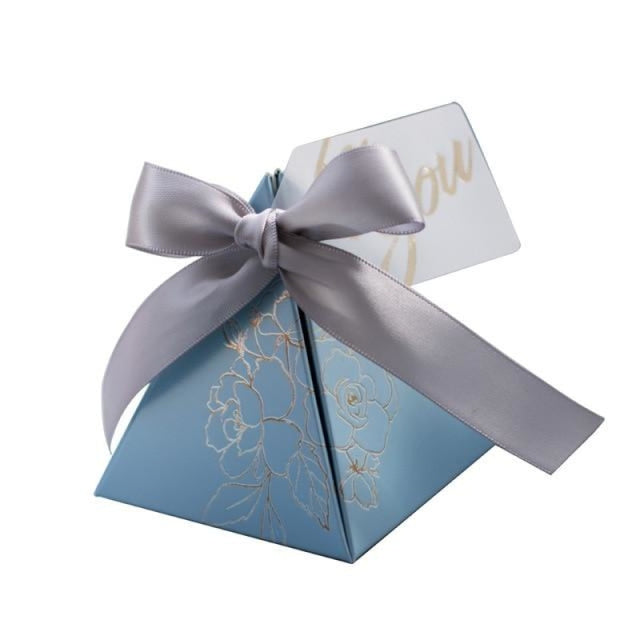 Triangular Pyramid Ribbon Bowknot Favor Holders | Bridelily - Sky blue / 20 PCS - favor holders